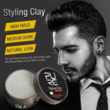 PURC Hair Styling Clay Mud for Men Strong Hold Hairstyles Matte Finished Molding Cream Long Lasting Stereotype Hair Wax 80gTSLM1(China)