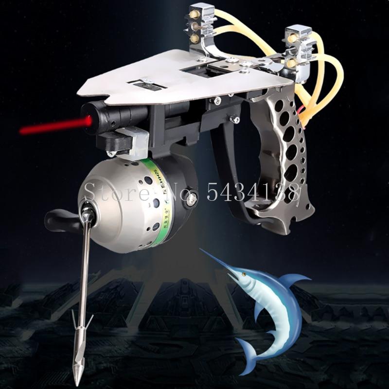 New laser hunting shooting fish slingshot high density fishing precision elastic fishing reel outdoor hunting slingshot set 2020