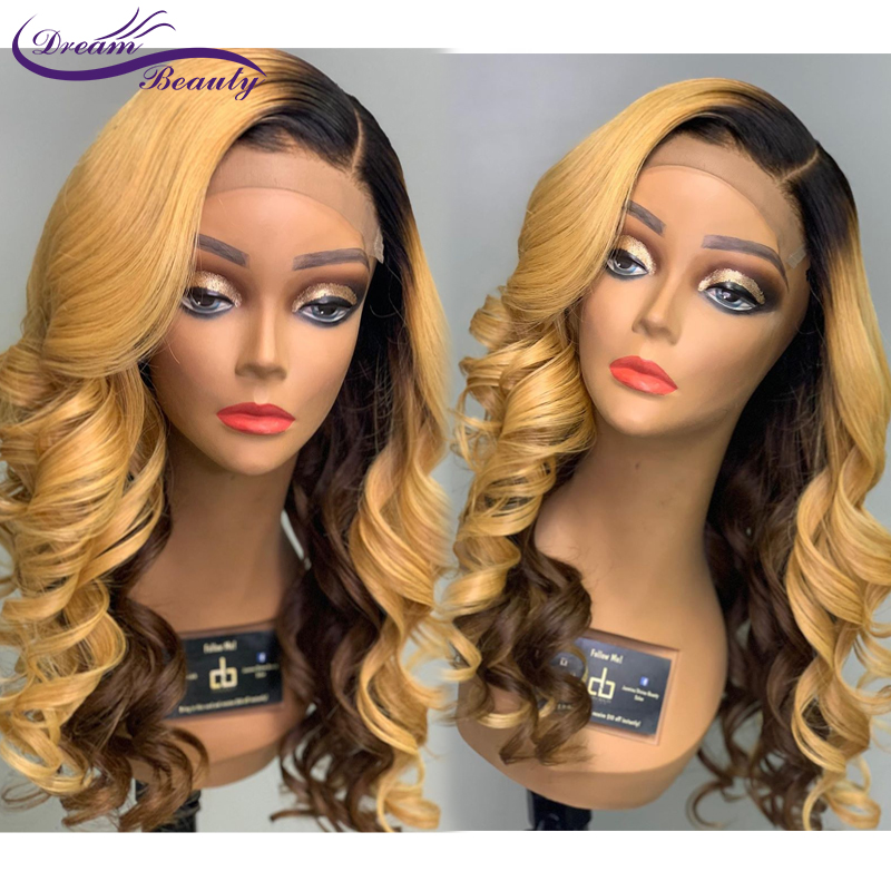 Ombre Color Lace Front Human Hair Wigs With Baby Hair 13X4 Wavy Brazilian Ombre Blonde Lace Wig Bleached Knots Dream Beauty