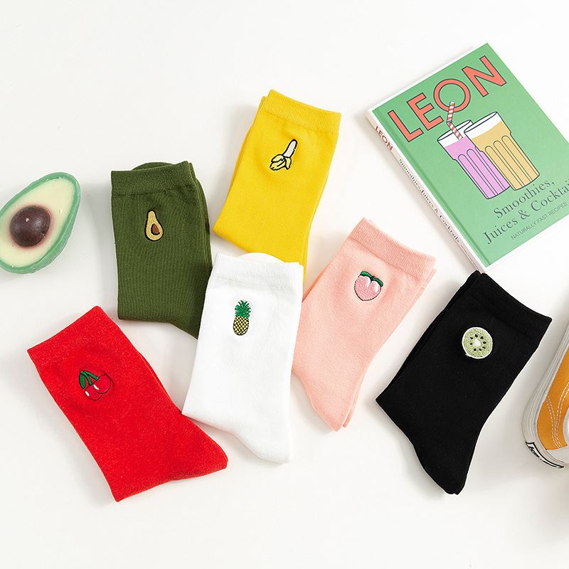 Fashion Kawaii Fruit Women Socks Cottonautumn Winter Cartoon Embroidery Cute Socks Woman With Avocados Cherries 091701