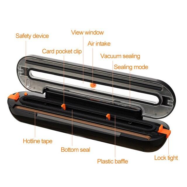 Tinton vida aferidor do vácuo de alimentos máquina de embalagem com 10 pçs sacos de vácuo livre máquina seladora a vácuo aferidor do vácuo empacotador 6