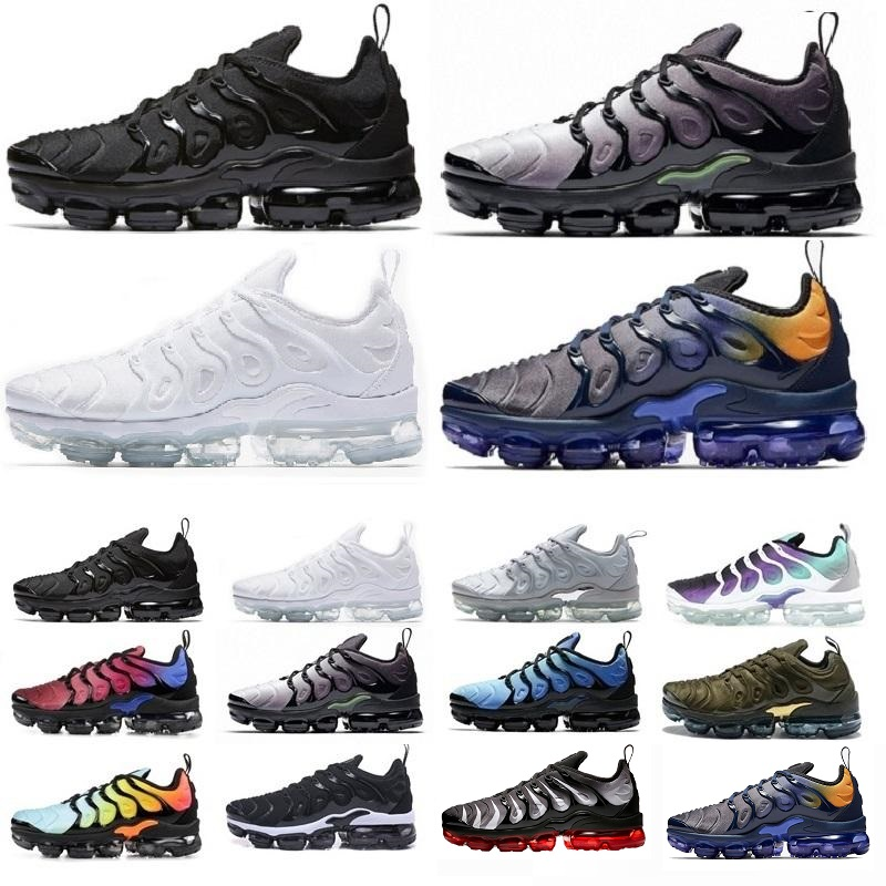 New 2019 Mens Shoes Sneakers TN Plus Breathable Air Cushion Designer Casual Running Shoes New Arrival Color US5.5-10 EUR36-45