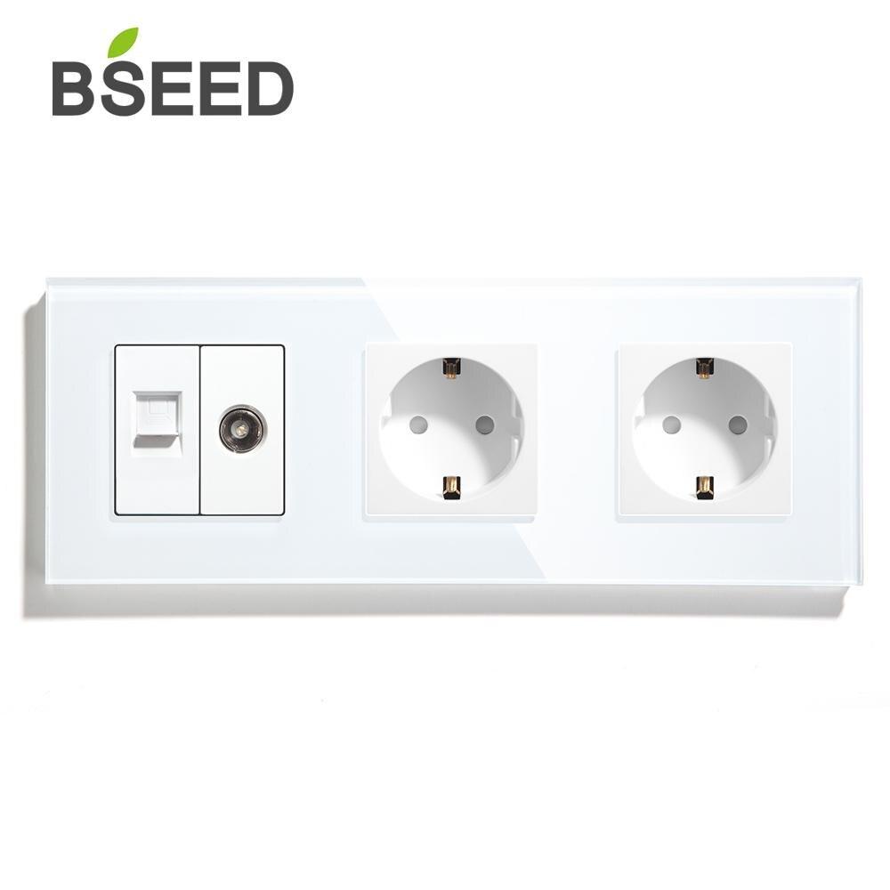 Двойная настенная розетка BSEED с ТВ, розетка для ПК, европейский стандарт, стеклянная панель, электрическая розетка, белая, черная, золотая, 110 ...