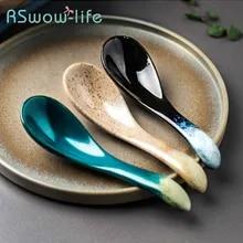 Cabilock 10Pcs Chinese Soup Spoons Asian Korean Japanese Wonton Soba Rice Ramen Noodle Spoon Ceramic Spoons Flatware