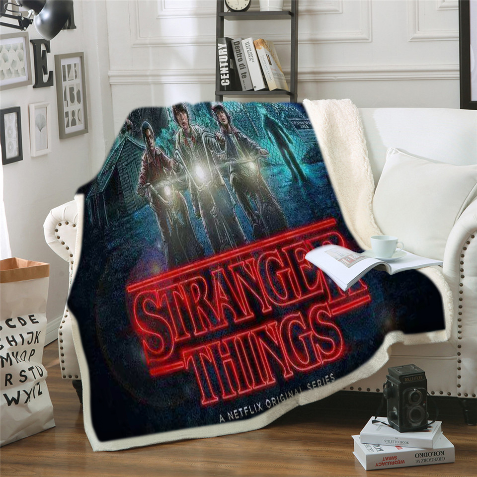 Hot Movie Stranger-Things Fleece Throw Blanket Print on Demand Flannel Blankets for Sofa Customized DIY Dropshipping image