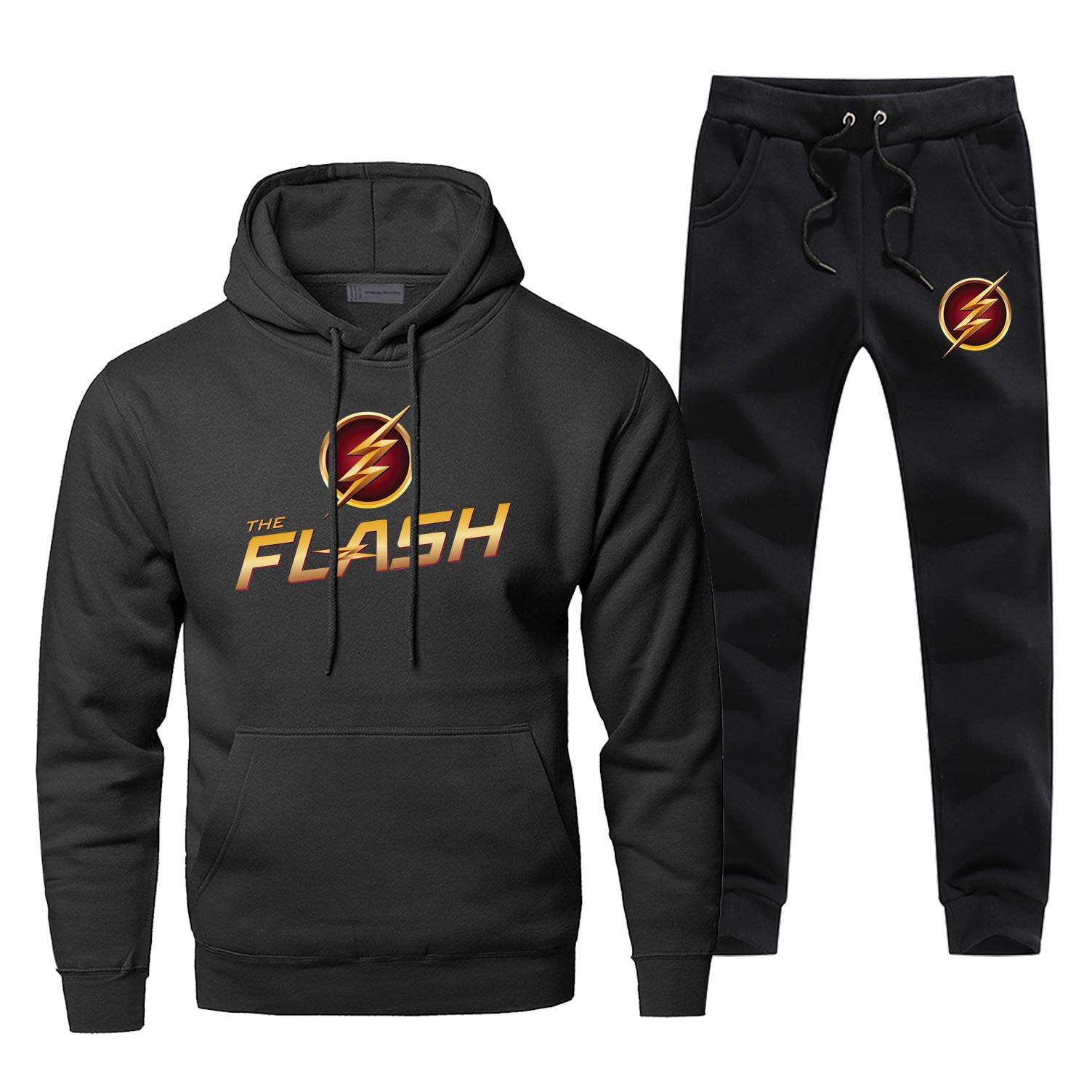 The Big Bang Theory Sweatshirt Men The Flash Star Hoodies+pants Two Piece Sets Men Casual Sportswear Hip Hop Streetwear