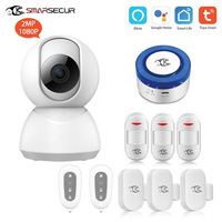 SMARSECUR Home wifi Security alarm siren WiFi Intruder Burglar System Smart Life Tuya with Alexa/Google Home