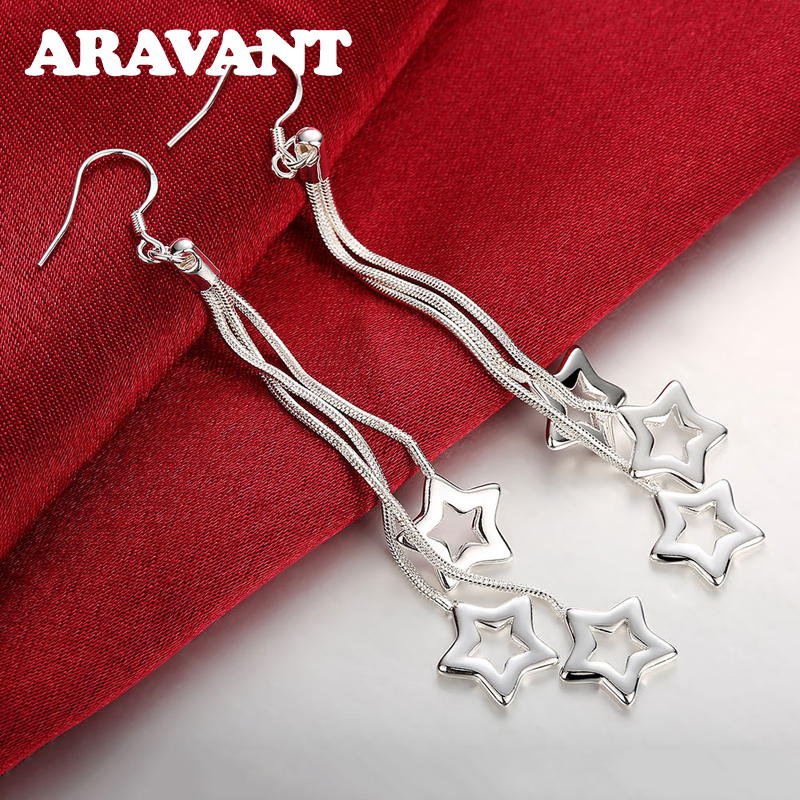 925 Jewelry Silver Plated Star Long Chain Drop Earrings For Women Fashion