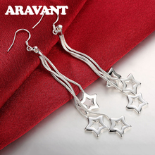 925 Jewelry Silver Plated Star Long Chain Drop Earrings For Women Fashion Plated Silver Jewelry cute long chain silver stud earrings with bling zircon stone for women fashion jewelry korean earrings 925 silver
