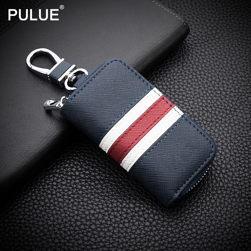 Fashion Colorful Stripes Leather Key Bag Universal Key Case For Car Keychain Men Women Key Wallet Mini Zipper Purse Key Holder