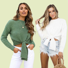 ALLNeon Casual Fluffy Sweater Lace up Front Crop Sweaters Fitted Long Sleeve White Jumper Female Knitting Pullovers Ruched Fall plus lace up jumper