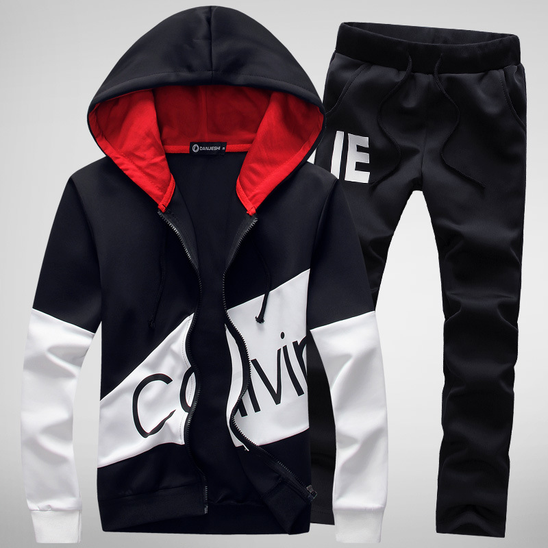 Men Sweatsuit Sportswear Autumn Casual Jogger Running Workout Set Printed Zi Up Hoodie Jacket Sweatshirt sweatpant Sport Suit in Running Sets from Sports Entertainment