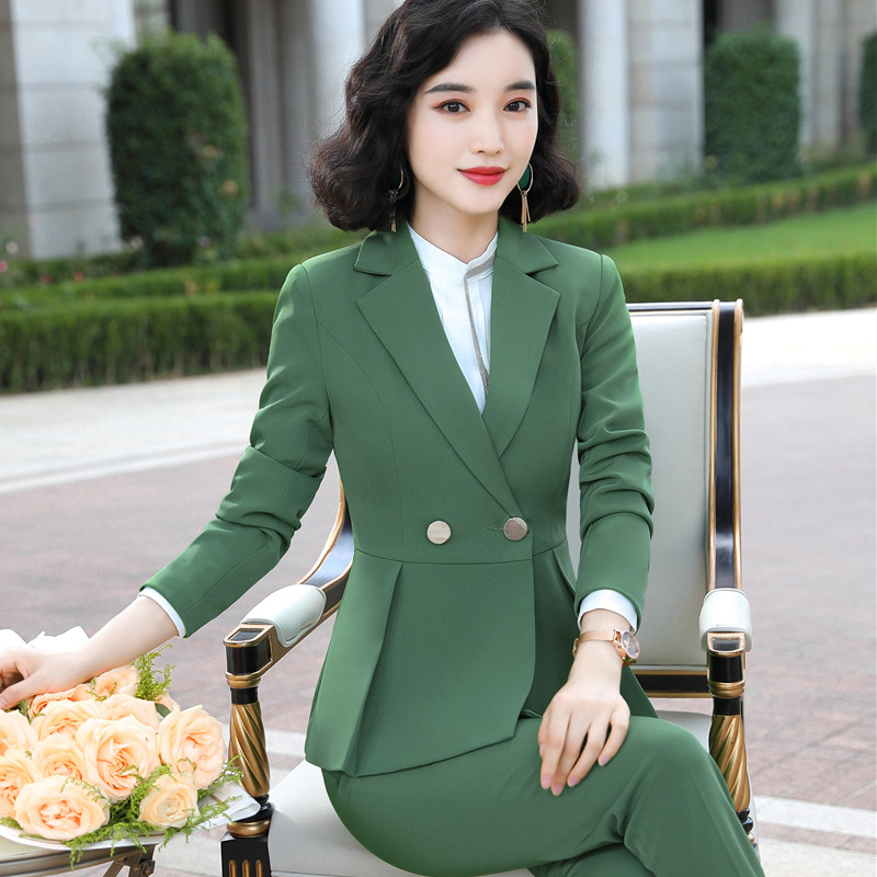 Naviu new arrival high quality women two pieces set pants suit for office lady formal workwear winter clothing 52