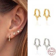 Aide – boucles d'oreilles créoles en argent Sterling 925 pour femmes, bijoux minimalistes en zircon cubique, Huggie