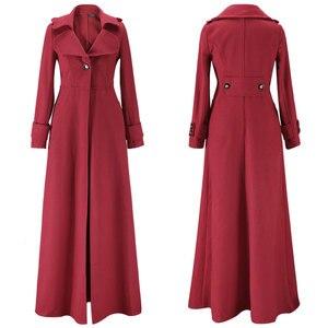 Image 3 - Kış ceket kadınlar sarkaç havalandırma paspaslamak için zemin Overlength fon yün palto rüzgarlık boy uzun siper dış giyim