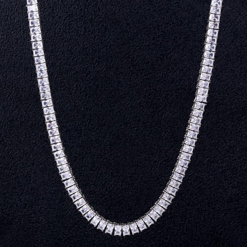 Glacé sur Tennis collier Bling chaîne Choker pour hommes Hip Hop lien 4*6mm Micro-incrusté Zircon hommes chaîne bijoux rappeur nouveau Style