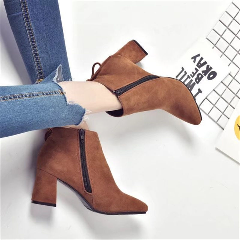 Pointed Toe High Heels Women Boots Basic Shoes Autumn And Winter Casual Female Ankle Boots Single Fashion snow boots 6