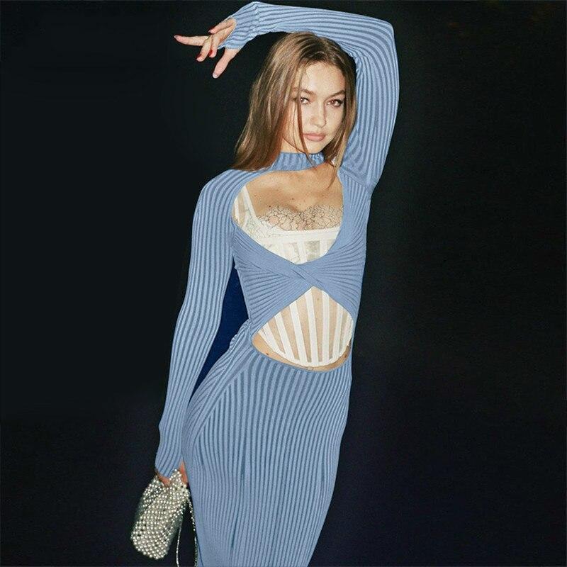Extensible tricot Sexy fête dos nu à manches longues moulante robe Midi femmes automne automne mode vêtements D015