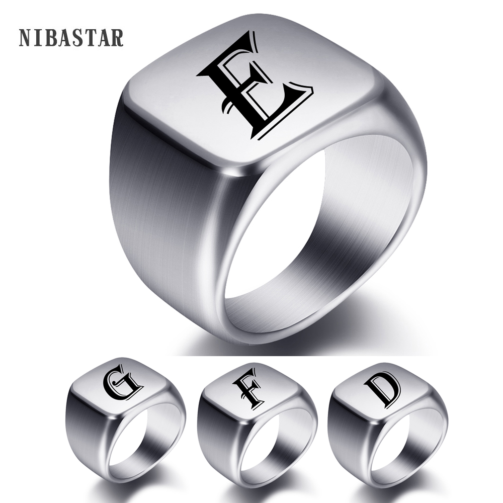 Engraved Name Rings Stainless Steel Personalize Words Initials Letters Signet Ring For Men Women Wedding Gifts 1