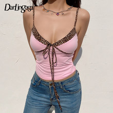 Darlingaga Harajuku Luipaard Patchwork V-hals Crop Top Vrouwen Cami Lace Up Strap Roze Sexy Tops Backless Y2K Mouwloze Zomer top(China)