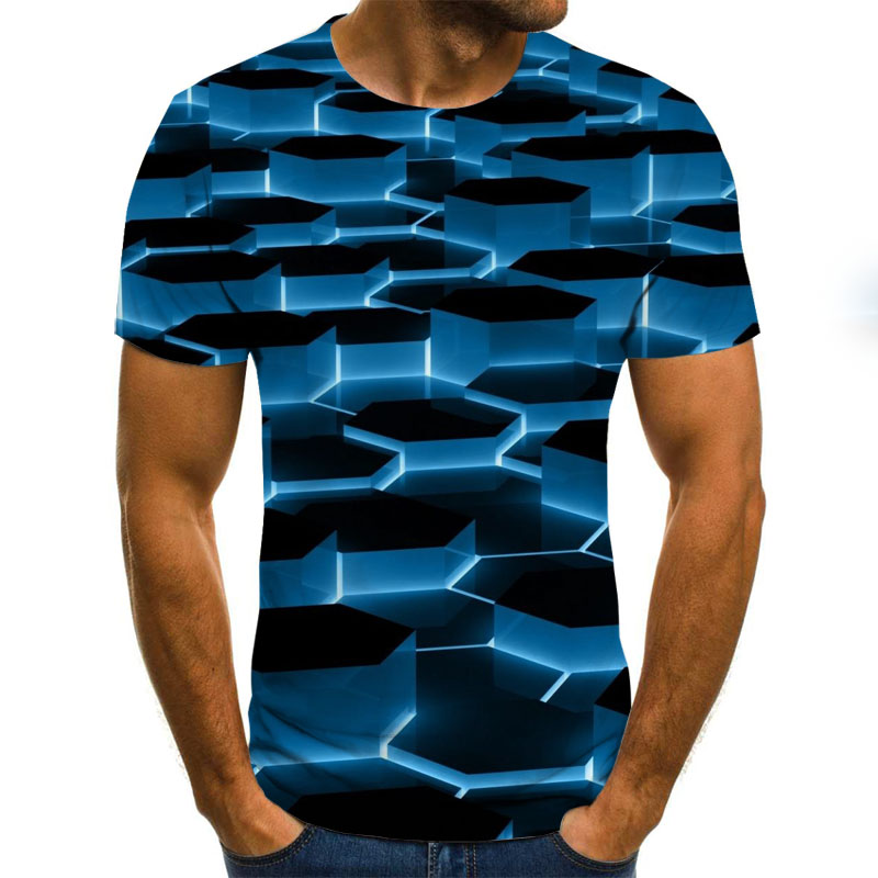 2020 New 3D Effect Men's T-shirt Summer Fashion Short-sleeved 3D Round Neck Tops Visual Pattern Shirt Oversized Men's T-shirt