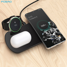 3 in 1 QI Wireless Charger Dock Station For Samsung Watch Active Galaxy Buds 10W Fast Wireless Charging Pad For Samsung S10 S20