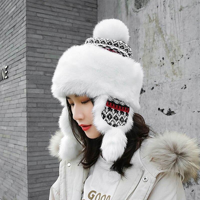 2019 grueso de la felpa ruso invierno cálido de la Nieve soviética sombrero Ushanka mujeres de la piel de bombardero sombreros de punto de Aviador gorro Nieve mujer