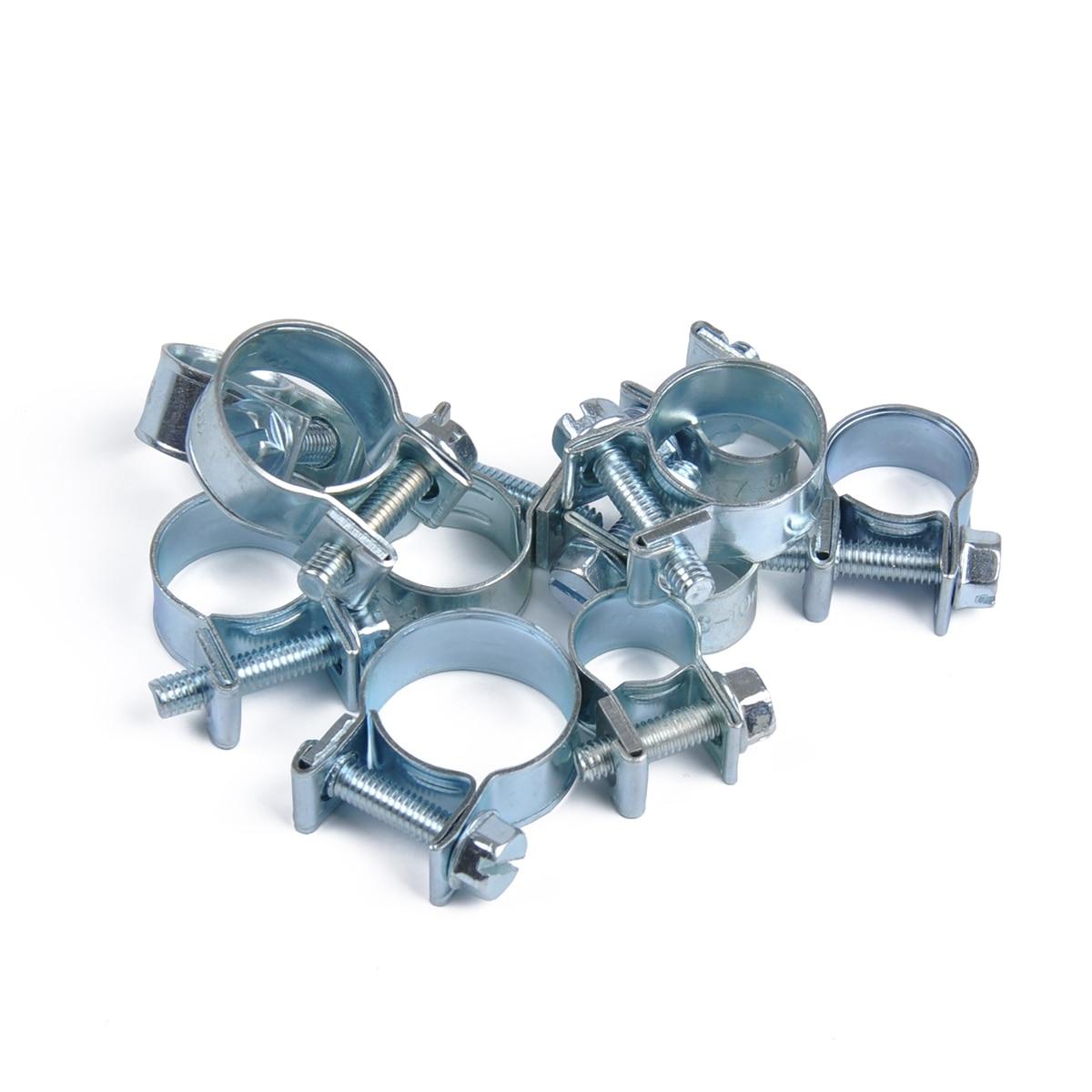 11-13mm Zinc Plated Mini Fuel Hose Line Pipe Clips x10
