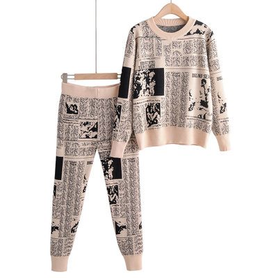 2019 Autumn New European And American Jacquard Newspaper Pattern Round Neck Pullover Sweater Feet Pants Suit