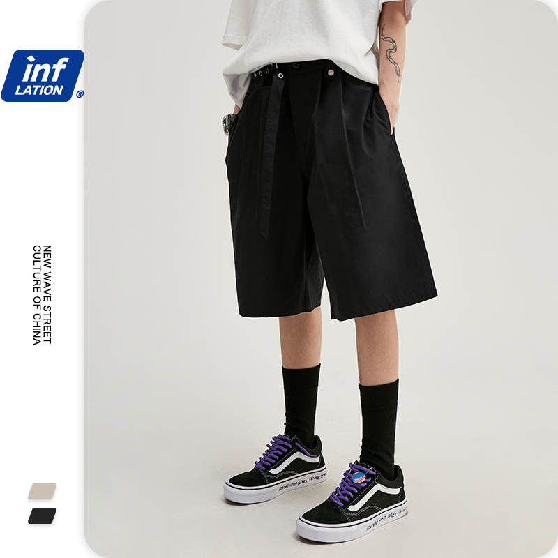 INFLATION Mens Simple Style Cargo Shorts In Pure Color Mens Shorter Shorts Hip Hop Men Compression Shorts With Pocket 3052S20