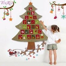 FENGRISE, Рождественский календарь, подвесной, фетровый, Рождественский календарь обратного отсчета, рождественские украшения для дома, счастливый год, декор