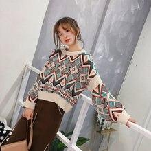 Jersey de punto de gran tamaño para mujer Argyle 2020 otoño Vintage suéteres para mujer suéteres de estampado geométrico étnico para mujer
