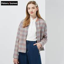 Metersbonwe 2019 Neue Design Winter jacke Frauen Plaid Warme Baseball uniform Baumwolle Gefütterte Mantel(China)