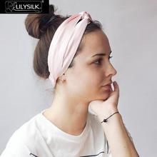 Lilysilkシルクヘッドバンドheadwrap帽子の女性のヘアアクセサリーファッションクロスバンドスタイリッシュな伸縮性弾性調節可能なかわいい