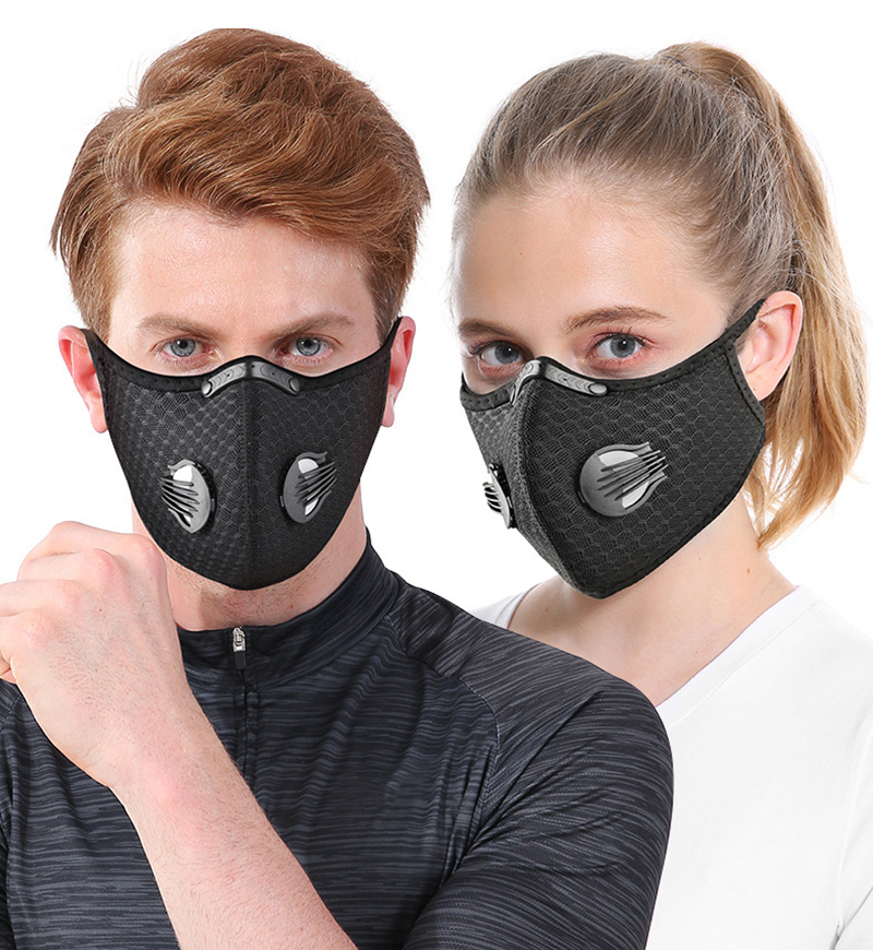 H005af8657fe6477887e41451f5384bc7y Shipping to USA Face Mask Filter Bike Cycling Mask Sport FaceMask Running Training Reusable Dust Mask Activated Filter Breathing