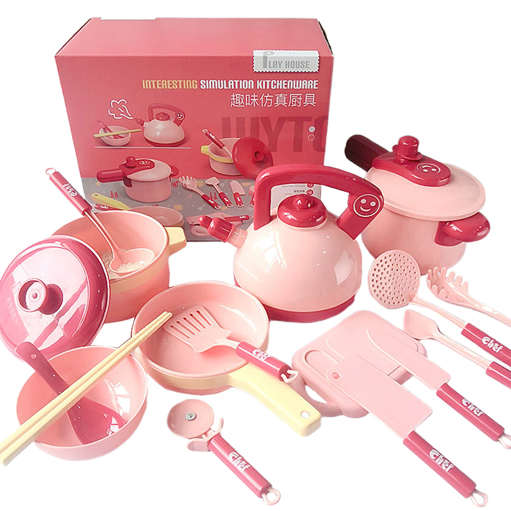 16pcs/set Dishes Manual Tools Home Early Educational Food Pans Pretend Play Pots Kitchen Utensils Child Cooking Toy Cookware