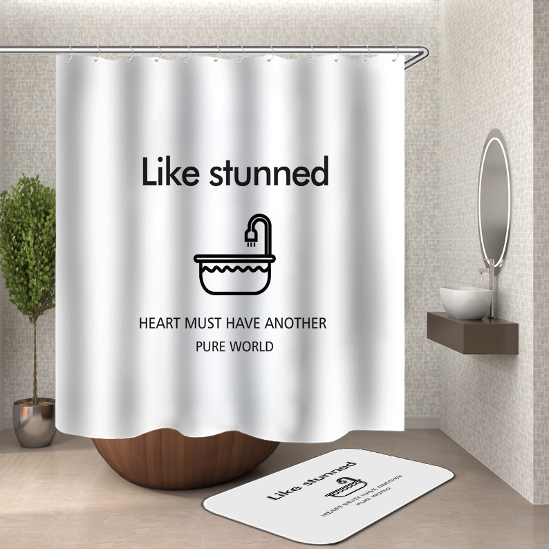 Black Background Funny Words Lettering Font Waterproof Fabric Shower Curtain Set