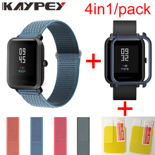 4in1 para xiaomi huami amazfit bip pulseira pulseira de alça de loop de náilon pulseira smartwatch amazfit bip caso capa com protetor de tela