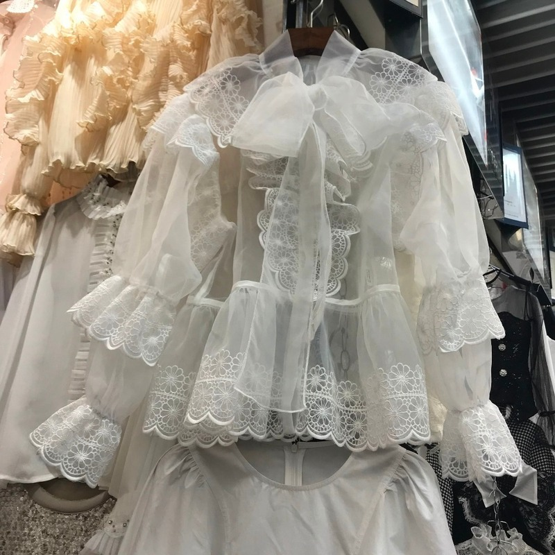 Arcs royaux Sexy voir à travers la rue Sexy femmes hauts et chemisiers manches bouffantes tunique Blouse chemise vêtements femmes blanches F008 - 6