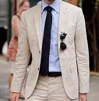 ANNIEBRITNEY Custom Made Ivory Beige Linen Men Suits For Wedding Groom Tuxedos Summer Beach Casual Groomsman Best Men Suits Set