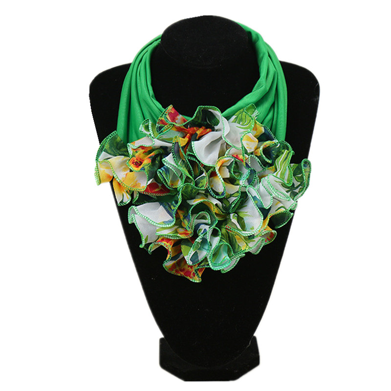 New Trend Women Scarf Floral Collar Scarf Luxury Big Flower Neckerchief Ring Neck Scarves Fashion Bandana Head Hijab For Ladies