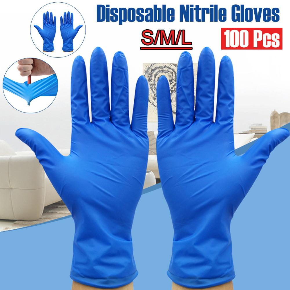 100Pcs/Pack Disposable Nitrile Gloves Waterproof Exam Gloves Ambidextrous For Medical House Gloves