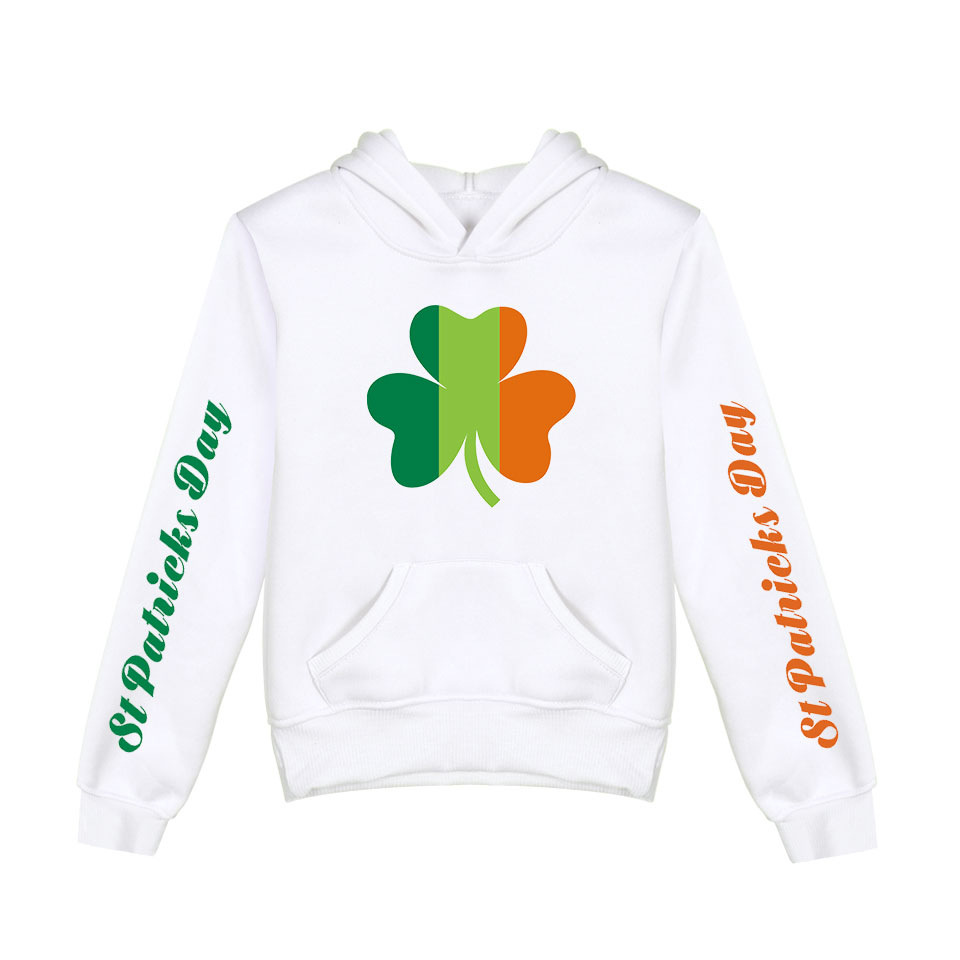 Zip Up Hoodie Irish Pub Clover Hooded Sweatshirt for Men