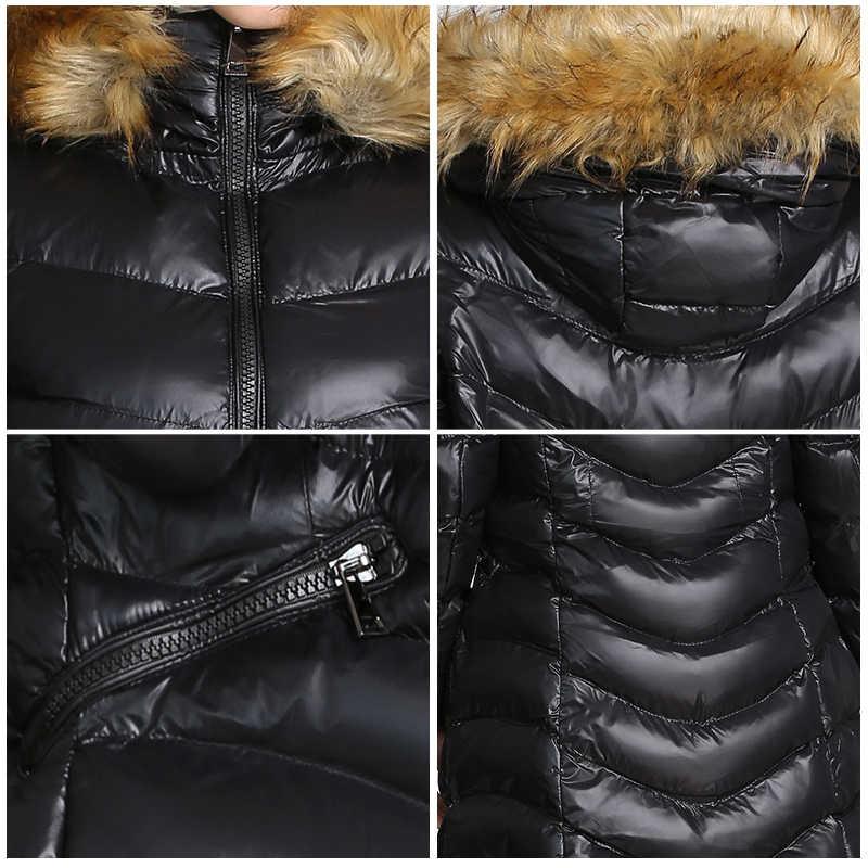 מעיל מעיל דביבון פרווה סלעית חורף מעיל לנשים מעיילי mujer ארוך חורף מעיל למטה כותנה מעיל חם 2019 COUTUDI חדש