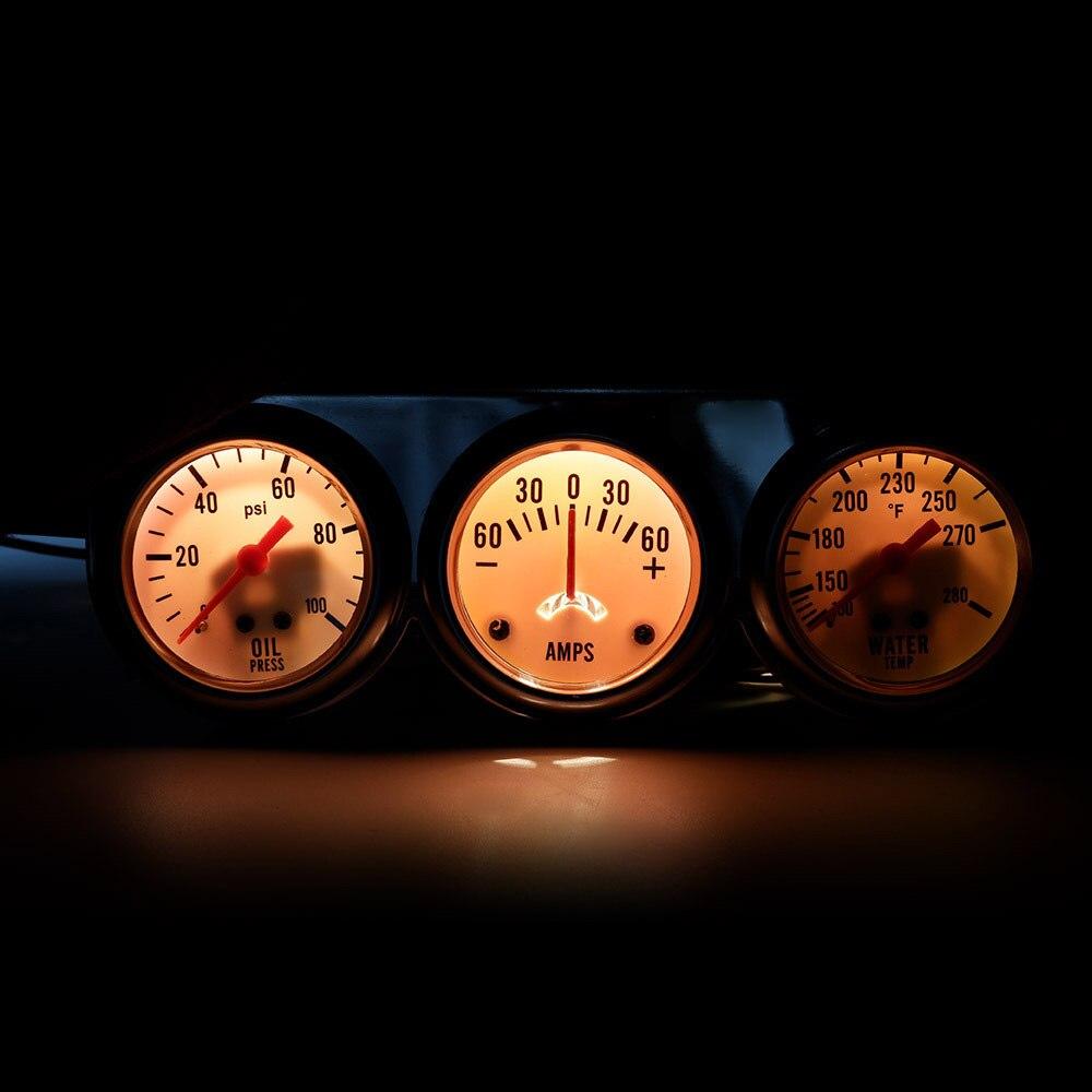 2 52mm Triple Gauge Set 3 In1 Oil Pressure Water Temp Amp Car Meter Black Face