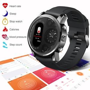 Image 2 - LEMFO חכם שעון עסקי גברים כפול זמן תצוגת אזור קצב לב צג כושר גשש עמיד למים שעון עבור אנדרואיד IOS