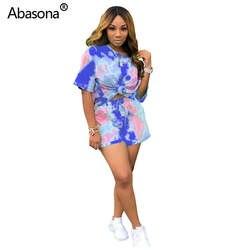 Abasona/Новинка, пуловер с короткими рукавами и принтом в виде галстука, цветной принт, круглый вырез, короткие шорты с завязками, модный
