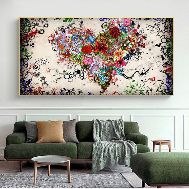 Цветы сердца Масляные картины на холсте абстрактные настенные