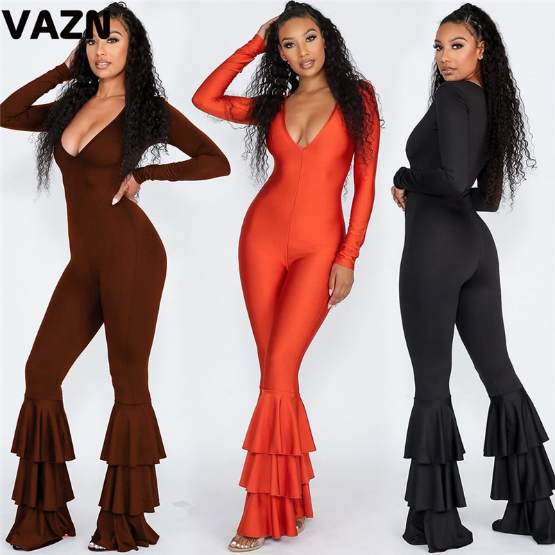 VAZN Ruffles New 2019 Hot Fashion High Street Jumpsuits Wide Leg Casual Solid Bodycon Sexy Long Pants Slim O-Neck Long Jumpsuit