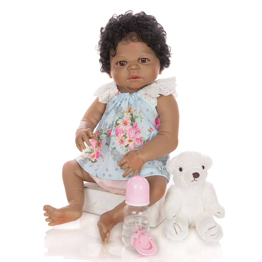 very beautiful 55cm Full Silicone Reborn Baby Doll Toy Like Real black Vinyl Newborn Alive Bebe Babies Doll Girl Brinquedos gift